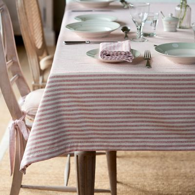 Red Ivory Stripe Tablecloth - Medium