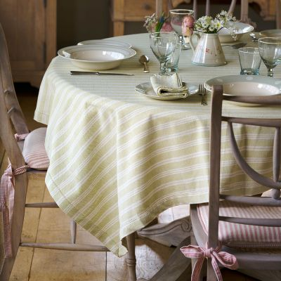Summer Green Cambridge Stripe Tablecloth - Square