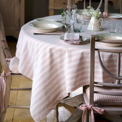 Pale Rose Cambridge Stripe Tablecloth - Square