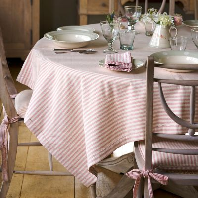 Rose/Ivory Stripe Tablecloth - Square
