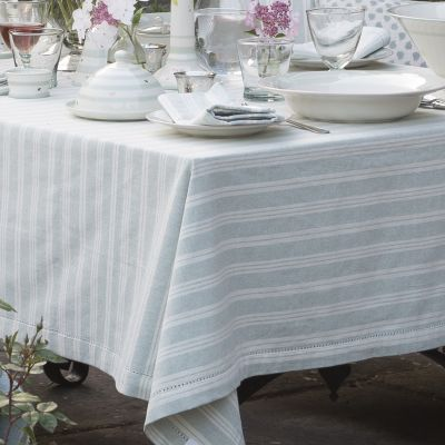 Striped Tablecloth Duck Egg Blue