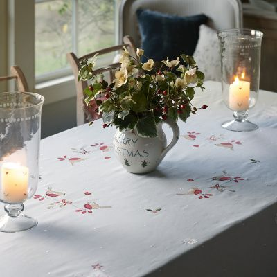 Duck Egg Robin & Rosehip Christmas Tablecloth – Medium