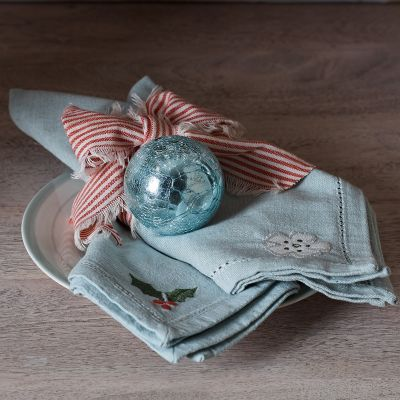 Holly & Christmas Rose Napkins - Duckegg (set of 4)