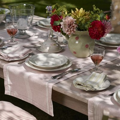 Pale Rose Oxford Stripe Table Runner