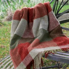 Green Red Harlequin Shetland Wool Throw