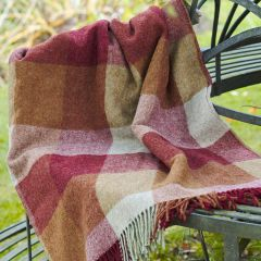 Red Gold Harlequin Shetland Wool Throw