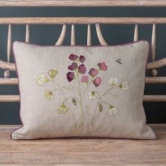 Embroidered Sweet Peas Linen Cushion