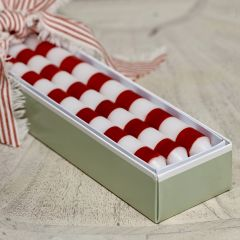 Christmas Red Stripe Handpainted Candle
