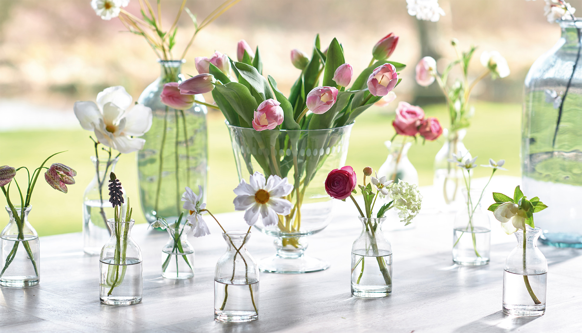 flowers and glass